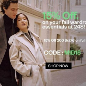 15% off Your Fall Wardrobe Essentials Sale @ 24S