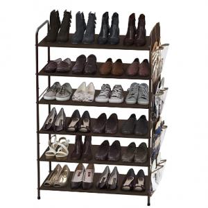 Simple Houseware 6层收纳鞋架,带侧边收纳袋 @ Amazon