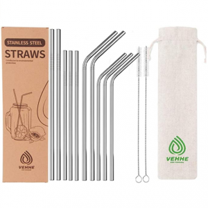 VEHHE Reusable Metal Stainless Steel Straws with Case BPA Free 10 Set (10.5in +8.5in) @ Amazon