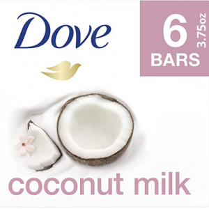 Dove Beauty Bar For Softer Skin Coconut Milk More Moisturizing Than Bar Soap 6 Bars @ Amazon