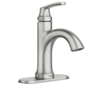 $15 OFF Moen Wellton One Handle Spot Resist Brushed Nickel Bathroom Faucet