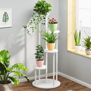 6 Inch Plastic Planters Indoor Set of 5 Flower Plant Pots Modern Decorative Gardening Pot