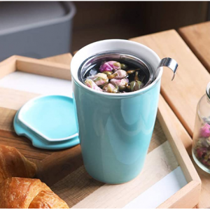 50% OFF SWEEJAR Ceramic Tea Cup with Infuser Basket and Lid for Steeping