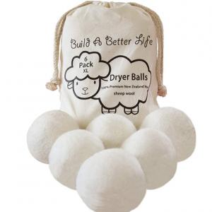 可重复使用纯羊毛烘干伴侣超大号(6个装),立减60% @ Amazon