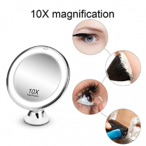 KOOLORBS 10倍放大化妆镜,360度旋转 带灯光 @ Amazon