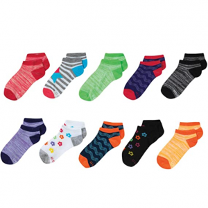 Hanes 女童船袜,10双 @ Amazon