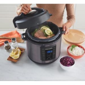 Crock-Pot 6 Qt 8-in-1 Multi-Use Express Crock Programmable Pressure Cooker, Black Stainless Steel