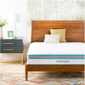 Linenspa 10 Inch Memory Foam and Innerspring Hybrid Mattress - Medium Feel, Assorted Size @ Amazon