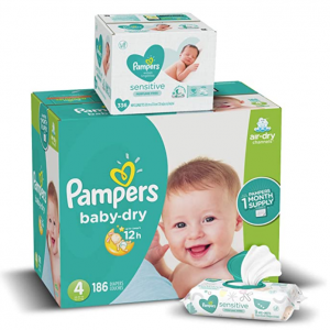 Pampers Baby Dry Disposable Baby Diapers and Water Baby Wipes(336 Count) @ Amazon