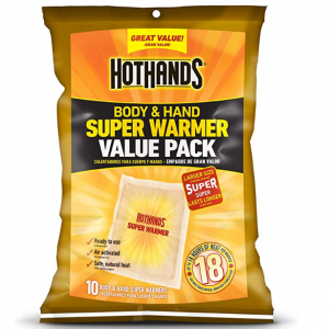 HotHands Body & Hand Super Warmers - Up to 18 Hours of Heat - 10 Individual Warmers @ Amazon