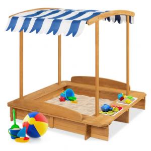 兒童木質沙盒,帶沙蓋、遮陽棚、凳子、桶等配件 @ Best Choice Products