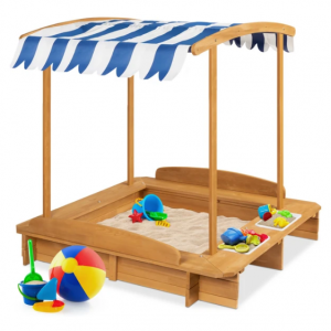Kids Wooden Cabana Sandbox w/ Benches, Canopy Shade, Sand Cover, 2 Buckets @ Best Choice Products