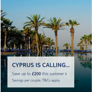 Save up to £200 off Cyprus holiday @TUI UK