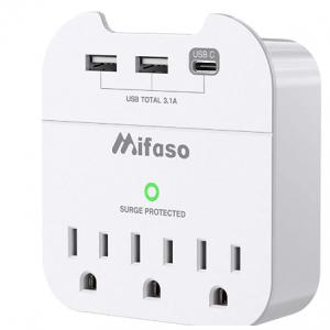 Amazon - Mifaso 6孔插线板 + 2 USB充电器 + 1个Type C 插座 ,9折
